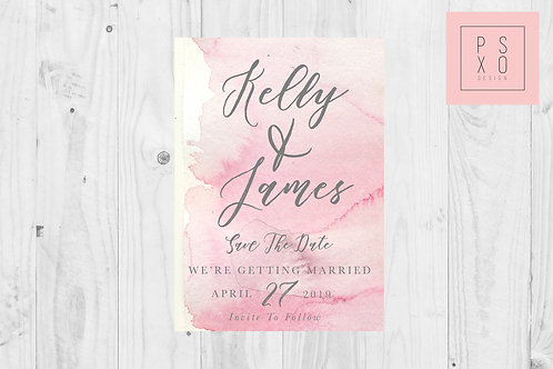 Watercolour And Calligraphy Save The Date Magnet