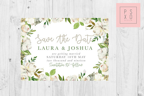 """White Floral """"Monika"""" Garden Save The Date Magnet"""