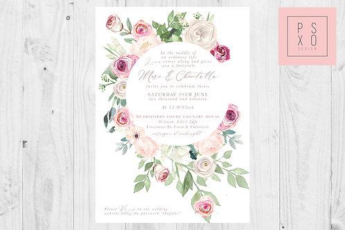 Chantelle Blush & Pink Floral Foliage Circle Wedding Invite