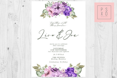 Purple Wildflower Top & Bottom Wedding Invite