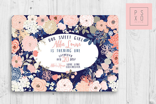 Navy And Pink Floral Invite