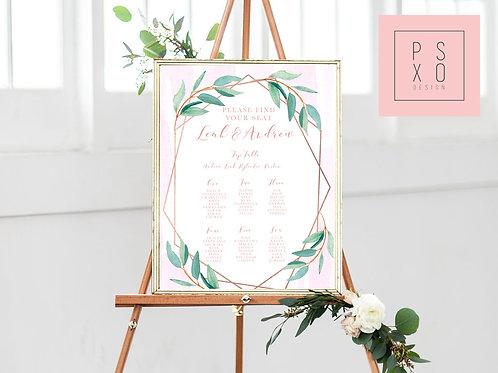 Rebecca - Blush Watercolour Vine Geometric Themed Table Plan