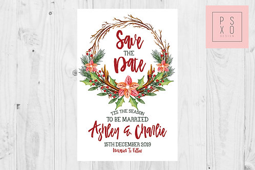 Christmas Wreath Winter Floral Themed Save The Date Magnets