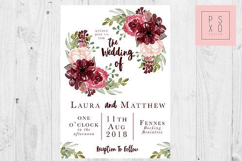 Burgundy Floral Wedding Invites