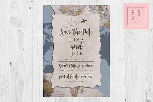 Destination Wedding Map // Dusty Blue