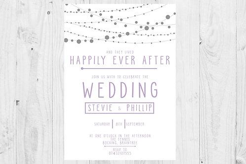 Lilac Fairy Light Themed Wedding Invites