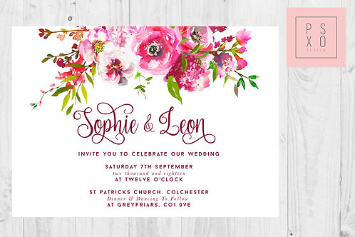 Sophie - Bright Pink 'Sweet May' Floral Wedding Invite
