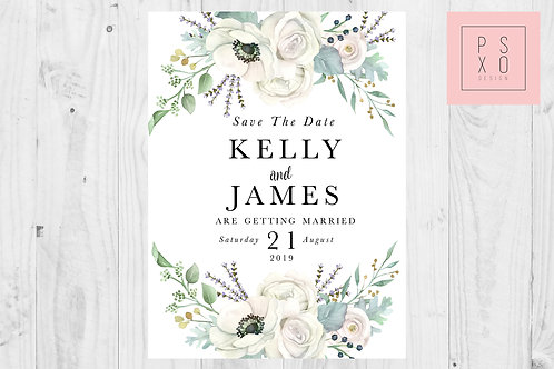 Beautiful White Florals Save The Date