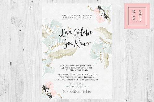 Cute Boho Floral Themed Wedding Invites