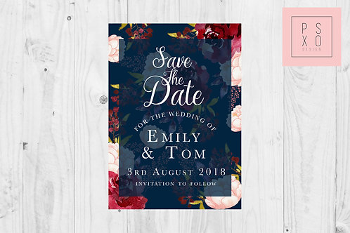 Beautiful Burgundy And Navy Floral Save The Date Magnets