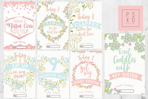 Cute Pastel Floral Spring Themed Baby Milestone Cards