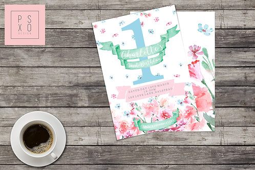 Vintage Watercolour Floral Themed Invite