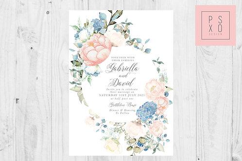 Gabby Blush & Dusty Blue Eucalyptus Invite