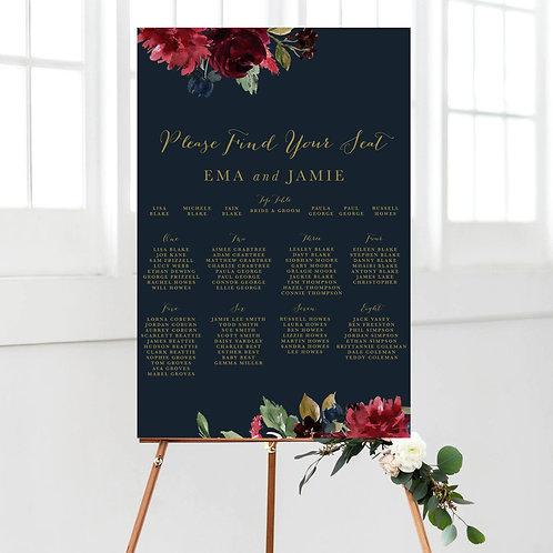 Christy Burgundy & Navy Floral Table Plan