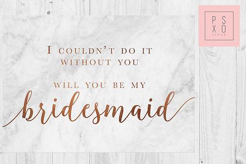 Copper & Marble Bridesmaid Card
