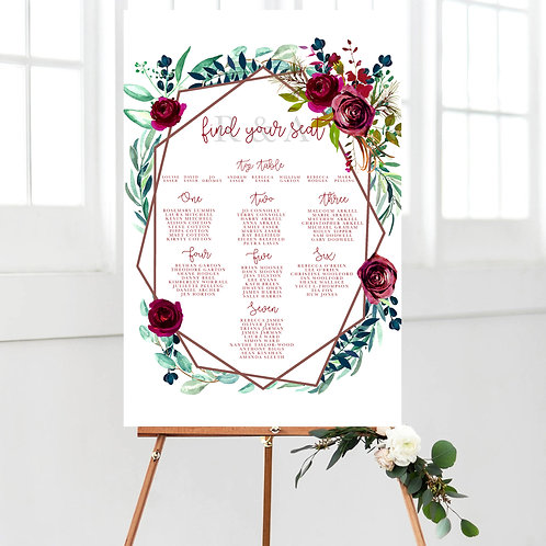 Burgundy Marie Geometric Table Plan