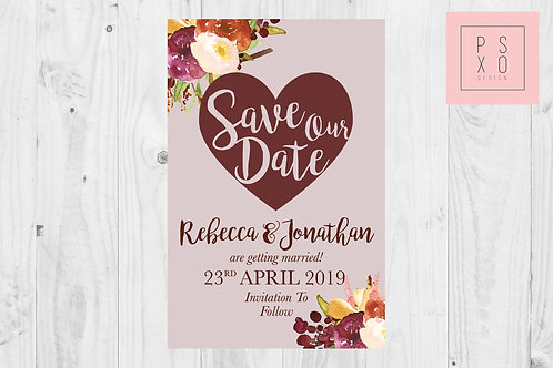 Burgundy & Blush Themed Save The Date Magnets