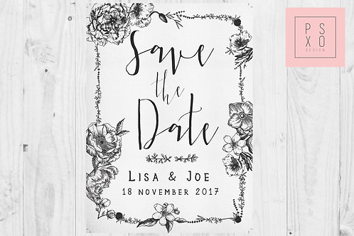 Black And White Rustic Save The Date Magnets