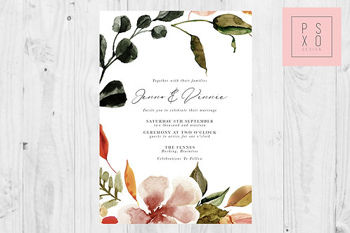 Autumn Floral Foliage Wedding Invite