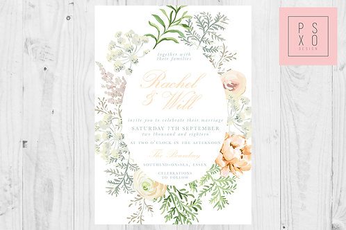 Peach Fern Wreath Wedding Invite