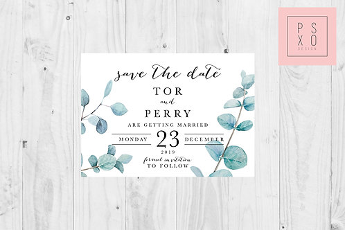 Eucalyptus Botanical Themed Save The Date Magnet