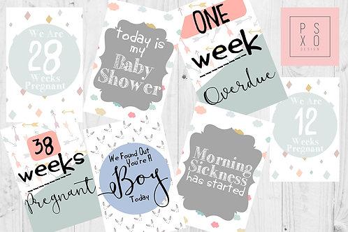 Cute Pastel Themed Pregnancy Milestone Cards