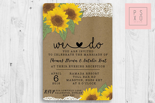 Rustic Kraft Sunflower Themed Save The Date Magnets