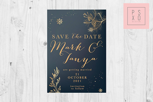 Save The Date Magnet // Navy Snowflake