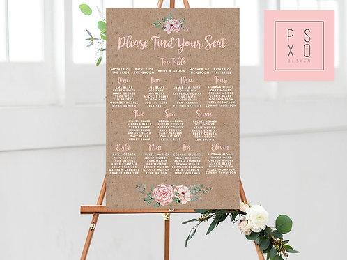 Sophie Rustic Blush Table Plan