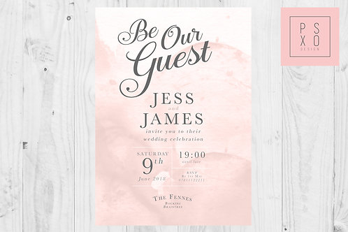 Be Our Guest - Watercolour Blush And Grey Themed Wedding Invite