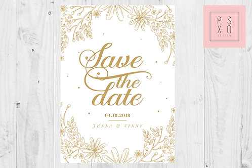 Gold Floral Border Save The Date Magnets
