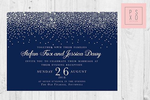 Navy & Whit Confetti Themed Wedding Invites