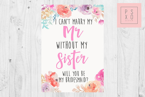 Sister Floral Bridesmaid Proposal Card