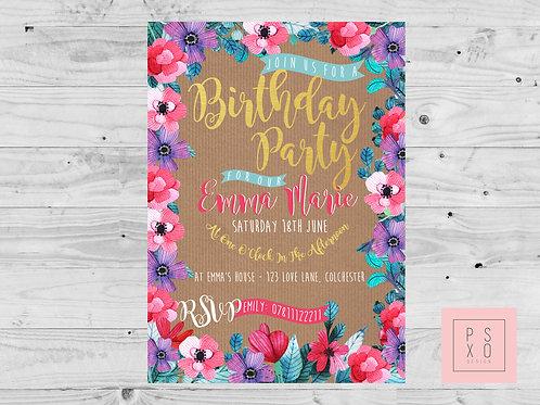 Love Bright Floral Kraft Paper Design Invite