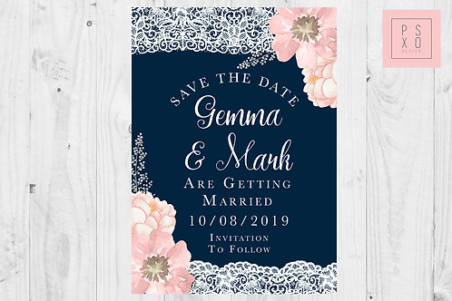 Navy & Blush Pink Floral Lace Save The Date Magnets