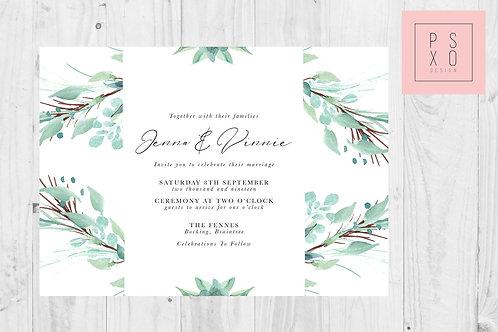Tropical Foliage CM Wedding Invite