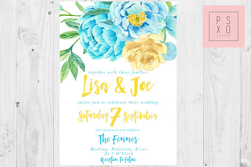 Bright Blue And Yellow Peonie Floral Invite