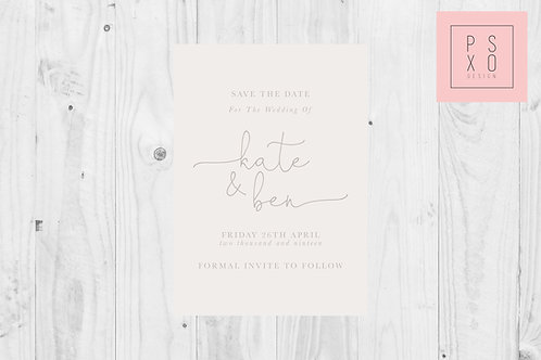 Simple Calligraphy Kate & Ben  Save The Date Magnet