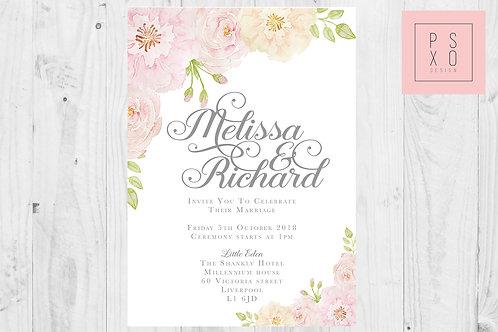 Vintage Rose Floral Wedding Invites