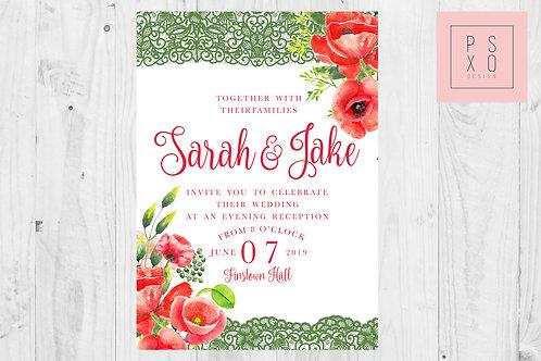 Gabriella Poppy With Lace Wedding Invite