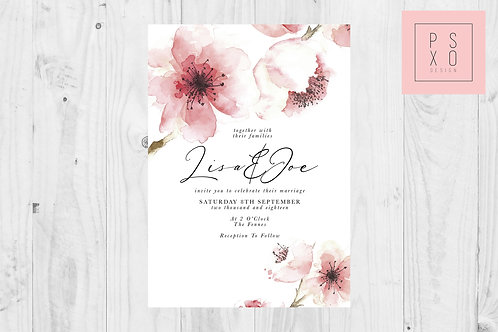 Large Watercolour Cherry Blossom Wedding Invite