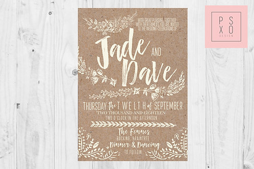 Rose Vs Jade - Shabby Chic Kraft Look Floral Wedding Invites