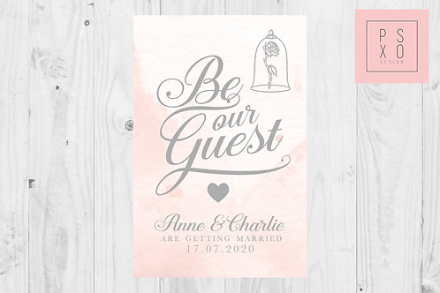 Watercolour 'Be Our Guest' Calligraphy Themed Save The Date Magnets