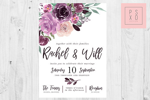 Beautiful Purple Sangria Themed Watercolour Floral Wedding Invites
