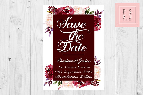 Andrea Burgundy Floral Save The Date Magnet