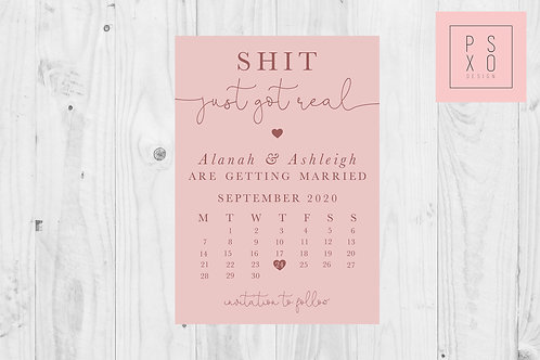 Sh*t Got Real Calendar  Save The Date Magnet