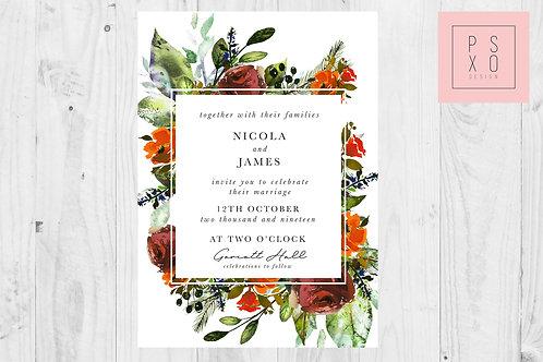 Wild Autumn Foliage Nicola Wedding Invites