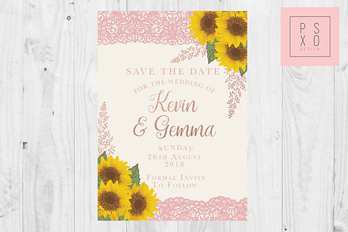 Vintage Sunflower & Blush Lace Save The Date Magnet
