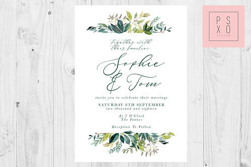Beautiful Foliage Rectangle Wedding Invite