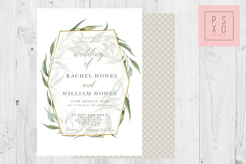 Rachel - Foliage Botanical Themed Modern Geometric Wedding Invite